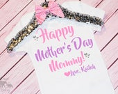 Baby Girl's Happy Mother's Day Onesie Outfit, Bodysuit, Toddler Outfit, Mommy's Day, Mama's Day, Pink, SilverPurple, Hearts, Mother's Day Sh