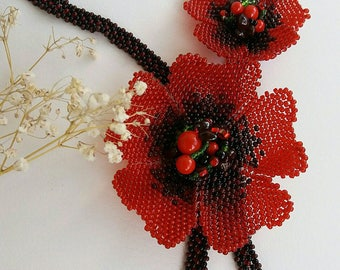 Necklace 'Red poppies' Ukrainian necklace Red poppies Handmade necklace Gift for her Flowers necklace Beaded necklace Elegant necklace Folk