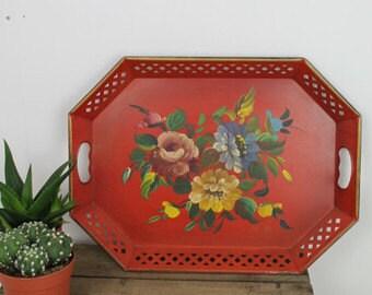 NASHCO Vintage Tray/ Decorative Tray/Toleware Serving Tray/ Handpainted Tray/1970s Vintage Tray (0021E)