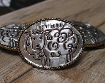 Women's Belt Buckle, Sheep, Hey Ewe, Hand Stamped, FFA Gifts