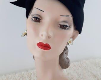 Vintage 1960's Phrygian Cap With Aurora Borealis Rhinestones | Vintage Hat |