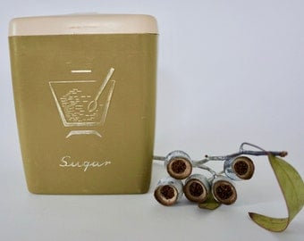 Great vintage Sugar canister by Nally in olive green with fantastic gold typography and graphic