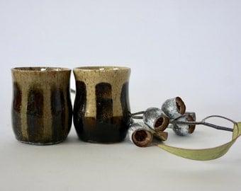 Lovely drip glaze Australian Pottery set of 2 small stoneware mugs
