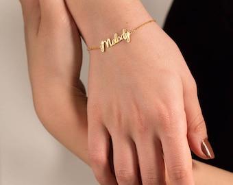 Custom Name Bracelet - Gold Name Bracelet - Personalized Name Bracelet - Custom Name Plate - Mothers Day Gift - Silver Name Bracelet - Gold