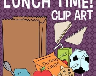 School Lunch Clip Art, Peanut butter & Jelly Sandwich Clip Art, Snacks Clip Art, Potato Chips, Juice Box Clip Art, School Lunch Clipart
