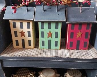 3 Saltbox houses Primitive Wooden Vintage