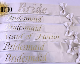 10 Bridesmaid Sashes, 10 Wedding Sashes, Bachelorette Sash, Bachelorette party, Bridesmaids, Bachelorette, Maid of honor, Weddings, Bride