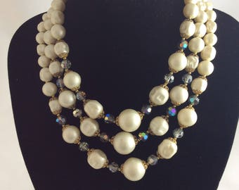 1950's Three Strand Pearlised Beads and Crystal Necklace.