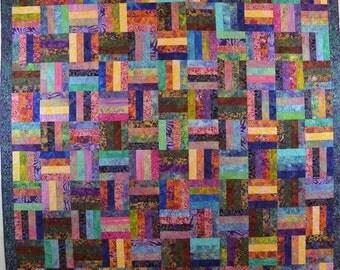 Batik Rails with all colors, Teal and Purple Batik Border