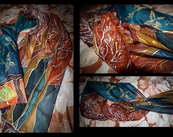 Hand painted silk scarf, one of a kind, high quality paint, autumn, leaves, brown and blue