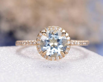 Aquamarine Engagement Ring Gold Wedding Halo March Birthstone Bridal Set Women Eternity Diamond Pave Minimalist Thin Graduation Gift for Her