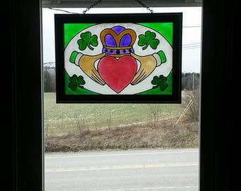 Irish Claddagh | Window Art | faux stained glass | painted glass | sun catcher