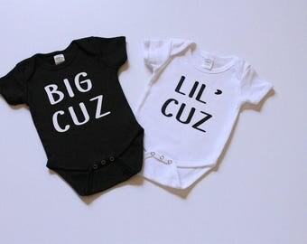 Onesie Set Big Cuz Lil' Cuz onesies, cousin onesie, onesie set, big cousin onesie, little cousin onesie, cousins