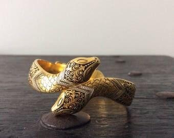 Vintage Victorian Snake Bracelet / Gold Tone / Steampunk / Witchy / Cuff Bracelet