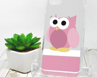 Funny Cute Pink Owl iPhone 7 Case - Owl iPhone 7 Plus Case - Pink Gray White Cartoon Illustration