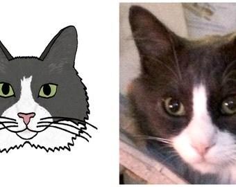 Custom Pet Portrait, Custom Digital Animal Drawing