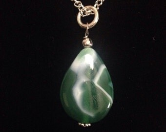 Green Beach Stone Necklace