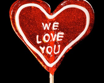 We Love You Lollipop - Photographic Print - Photograph - Photo Art - Candy - Heart Shaped - Black Background - Red & White - Fine Art Prints