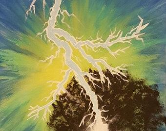 "Original Art - ""Lighting Bolt Strikes Tree""  - Unique Acrylic Painting on 11x14 Canvas"