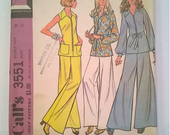 Vintage 1970s McCall's Pattern 3551 - Tunic & Pants - Size 18, Bust 40 - Uncut Sewing Pattern