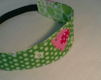 children's headband /reversible / cotton/girls gift/ girls birthday/pink/green/elephant/girls headband