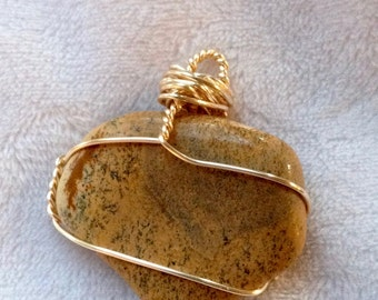 Picture Jasper, crystal, gold wire wrapped, bamboo cord