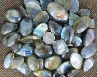Labradorite 250g wholesale lot; iridescent cabs, ideal for jewellery craft projects, FREE WORLDWIDE DELIVERY, Northern Lights, Aurora (2045)