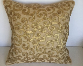 Embroidered applique decorative pillow for couch