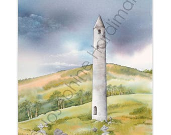 Irish Heritage Print The Round Tower at Glendalough