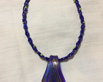 Blue necklace with drop pendant