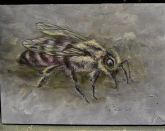 Original Oil Color Painting of a Pink Bee on Wood