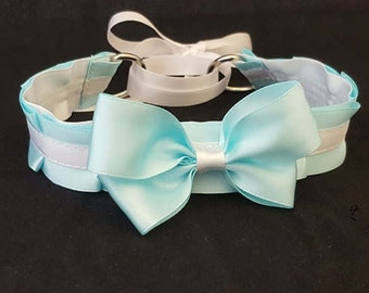 Light Blue & White Pleated Ribbon Cosplay/Kitten Collar