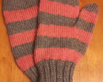Adult Medium Hand Knit Worsted Weight Wool Mittens