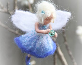 Blue fairy ornament, needlefelt