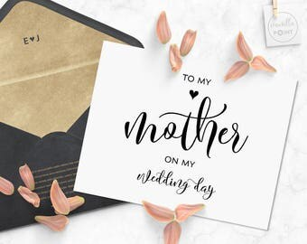 To My Mother On My Wedding Day Card, Gifts For Mom, Mother Of The Bride, Gift For Mom, Mother Of The Groom, Mom From Daughter Printable Card
