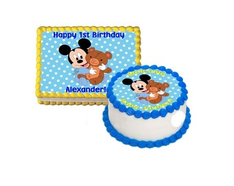 Baby Mickey Mouse cake topper- Personalized free- Baby Mickey edible icing image, baby Mickey Mouse 1st birthday, Mickey Mouse baby shower