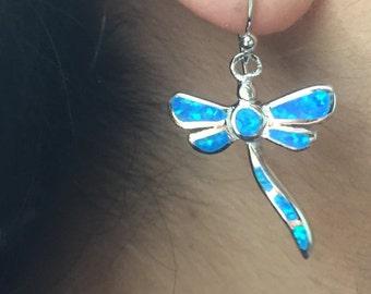 Native American Silver Opal Earrings, Dragonfly Earrings