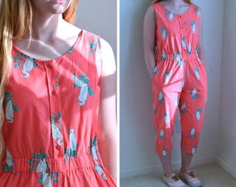 1980s Jumpsuit // Peach Button up Jumpsuit w/ Pockets // 80s Jumpsuit