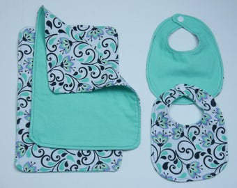 Bib, Burp Cloth, Bib Set, Baby Girl Gift Set, Baby Bib, Baby Shower Gift, Infant Bib Burp