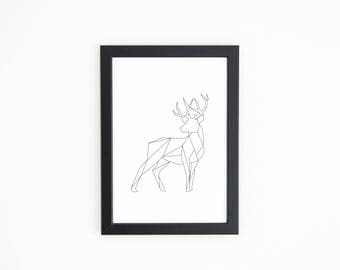 Deer art print black and white or color-graphics animals 21 x 30