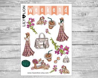 Bougainvillea Dreams Decorative Sticker Sheet - Plum Planner - Erin Condren - EC - Bulldog Puppy - weekend stickers