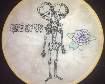 Conjoined Skeleton Twins Embroidery Hoop