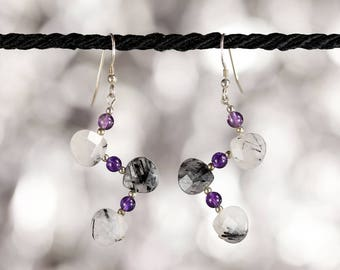 Zig zag tourmalined quartz dangle earrings in sterling silver with amethyst accent