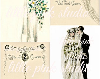 A Vintage Wedding 02,  Printable Collage Sheet (digital download, printable)