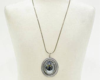 Vintage Whiting and Davis Large Oval Hematite Pendant on 925 Sterling Chain