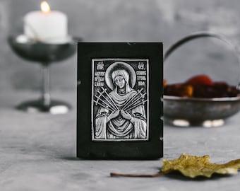 Virgin Mary Icon-Seven Arrows Orthodox Icon-Russian Icon-Religious Gift-Theotokos with Seven Arrows-Softner of Evil Hearts-Religious Icon