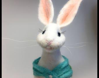 White Rabbit w/ Basket of Apples, Needle Felted Bunny, Nursery Decor