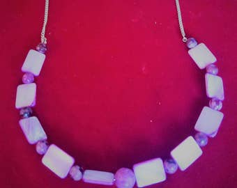 Necklace made from Crazy agate and purple dyed shell