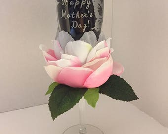 Happy Mother's Day w/ Butterfly Champagne Glass hand decorated with Flower Petals Personalization Available
