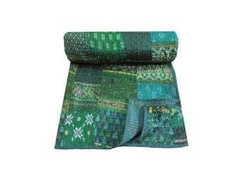 Green Vintage Silk Sari Patchwork Kantha Quilt Handmade Indian Kantha Blanket Queen Size Kantha Bed Cover Hand Stitched Kantha Picnic Throw